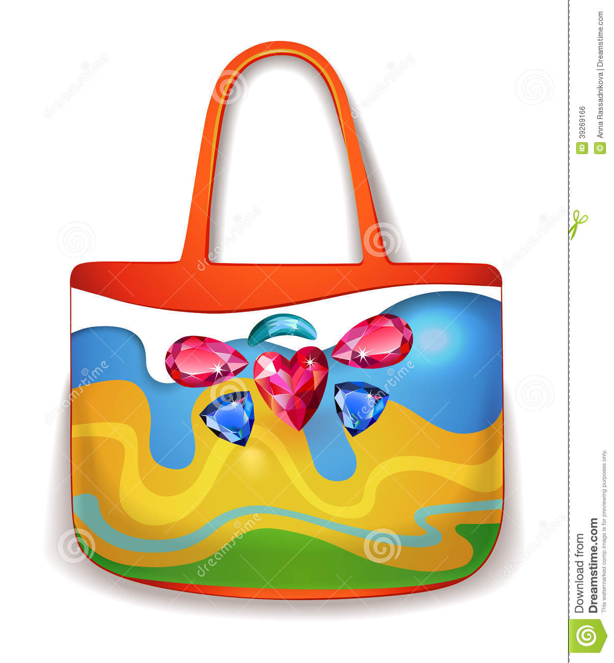 Wonderful bright ladies handbag for summer holidays isolated on white  (vector). EPS10 file available. 7eb5ce8f815b4