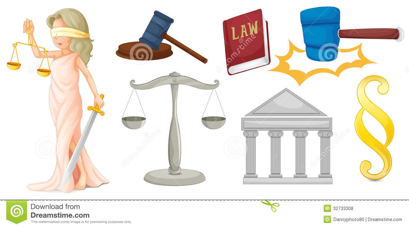 A Lady With The Symbols For Justice Stock Vector Illustration Of