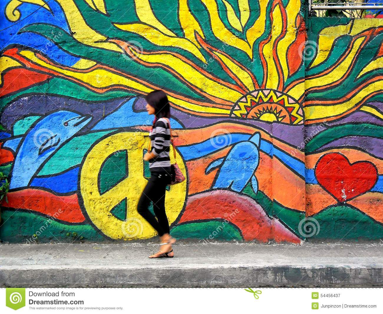 A Lady Walking Past A Street Wall Art Editorial Photography - Image ... for Cool Street Wall Paintings  585ifm