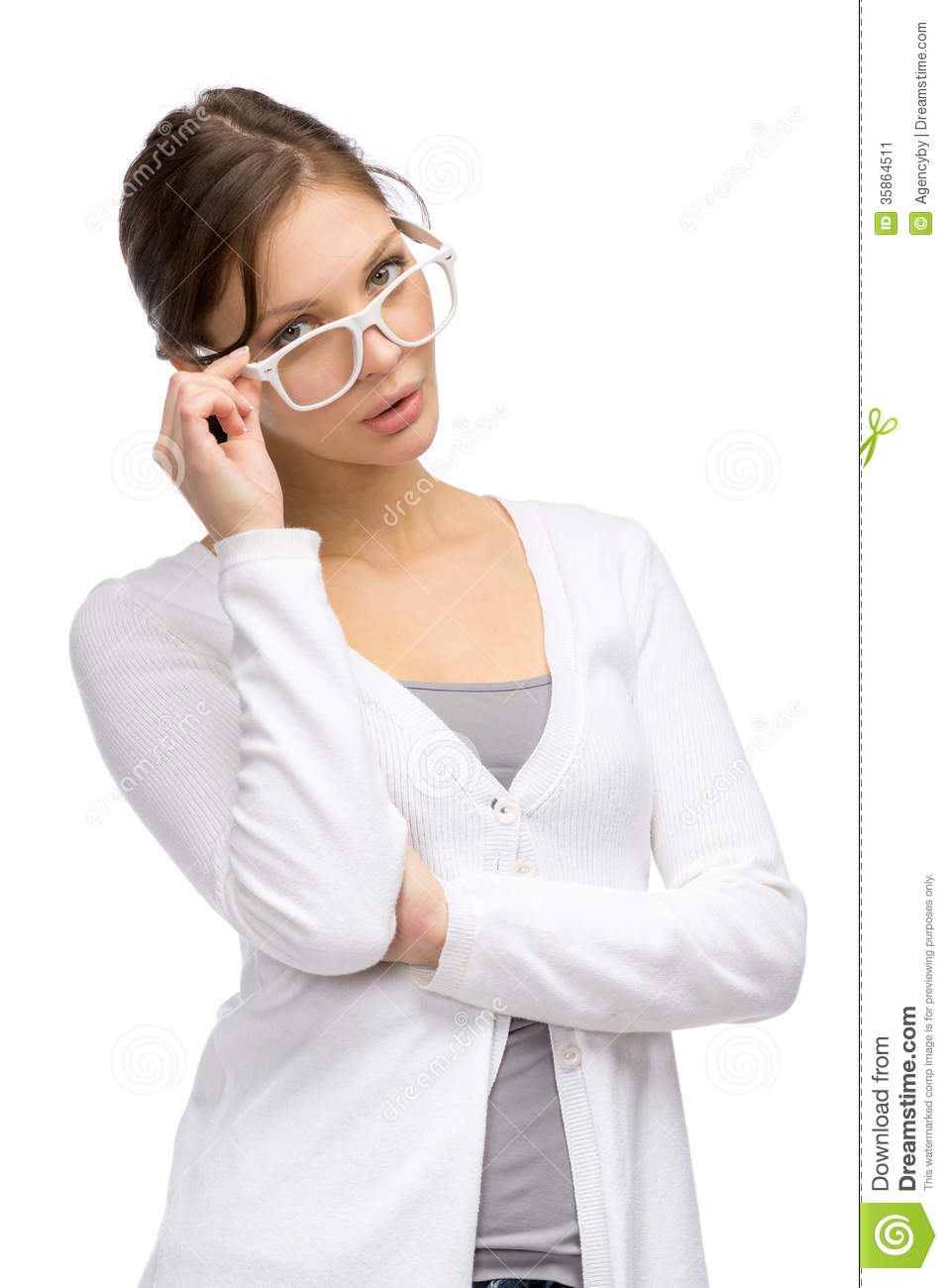 lady wearing white frame glasses