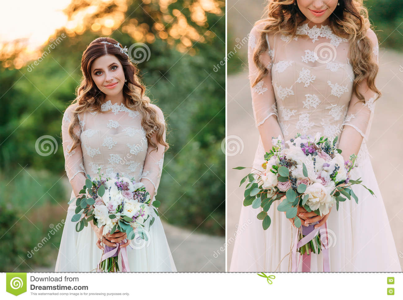 Lady In White Dress In Nature With A Beautiful Bouquet Of Flower