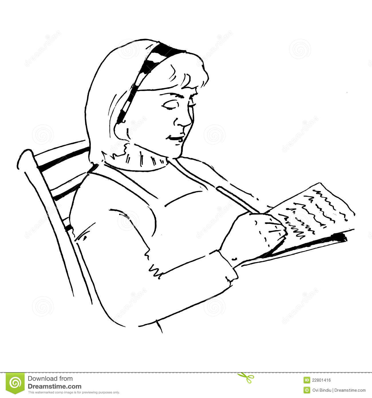 A lady writing a letter stock illustration Image of love