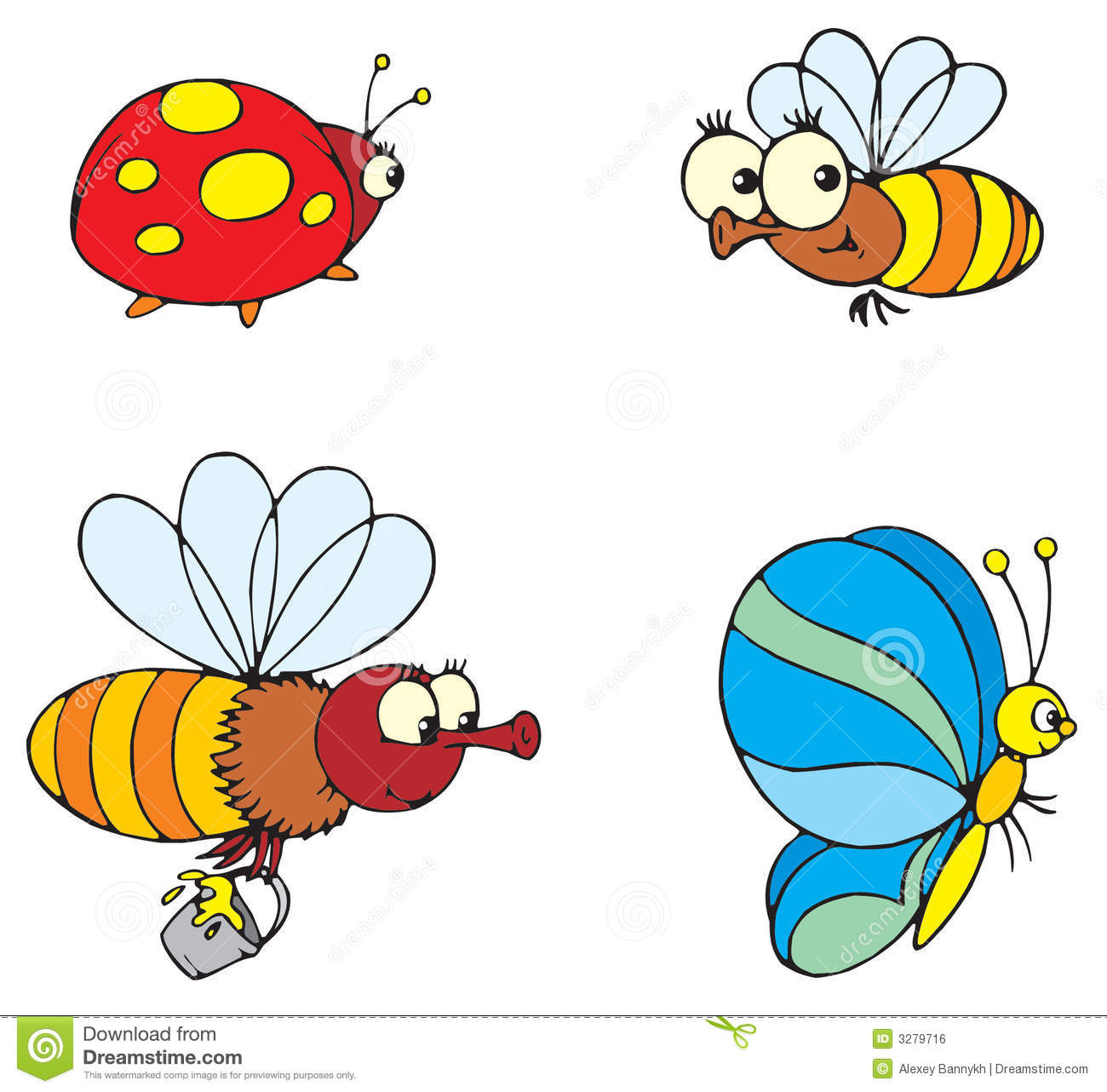 Ladybird, butterfly and bee