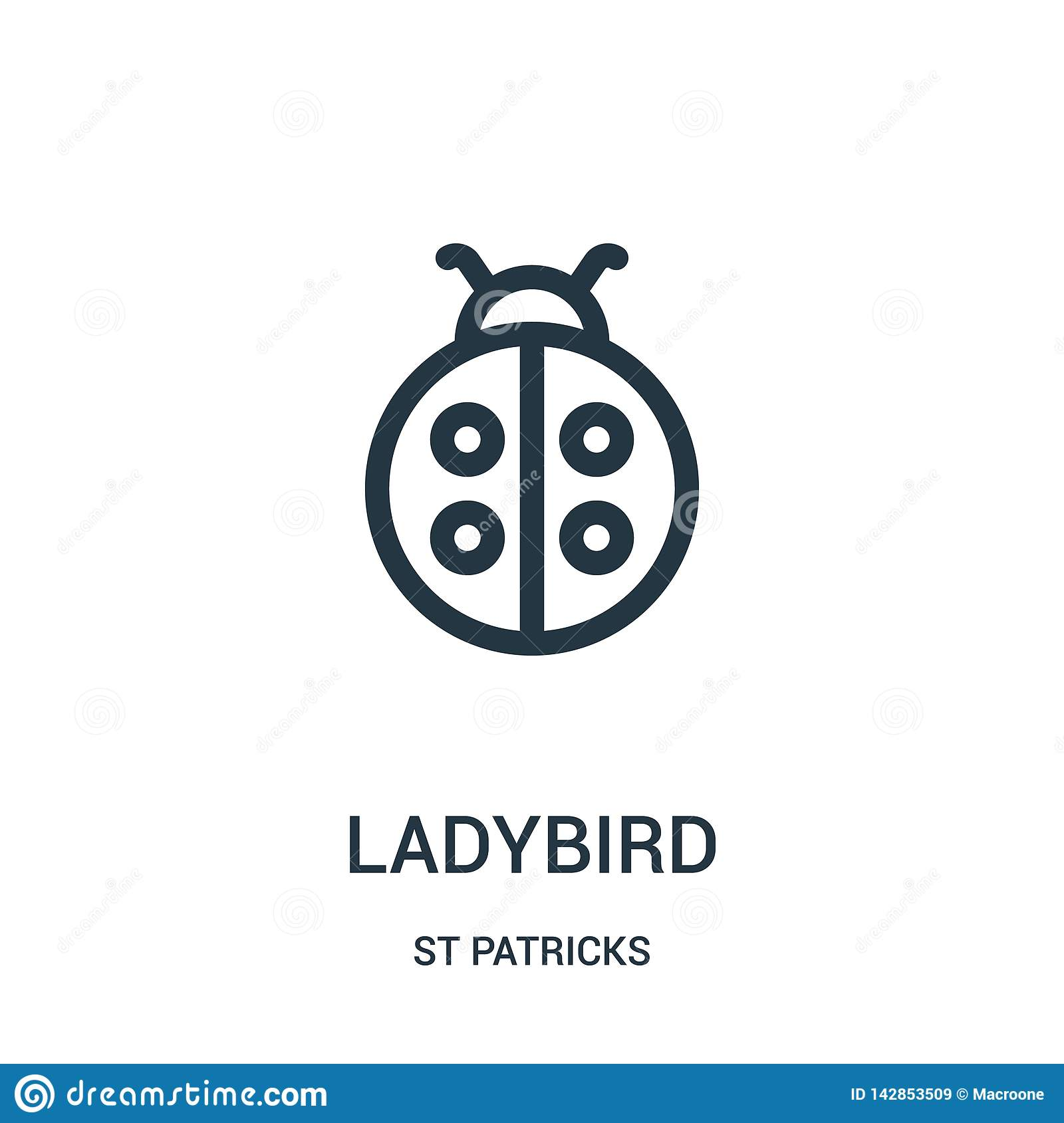 ladybird icon vector from st patricks collection. Thin line ladybird outline icon vector illustration. Linear symbol for use on