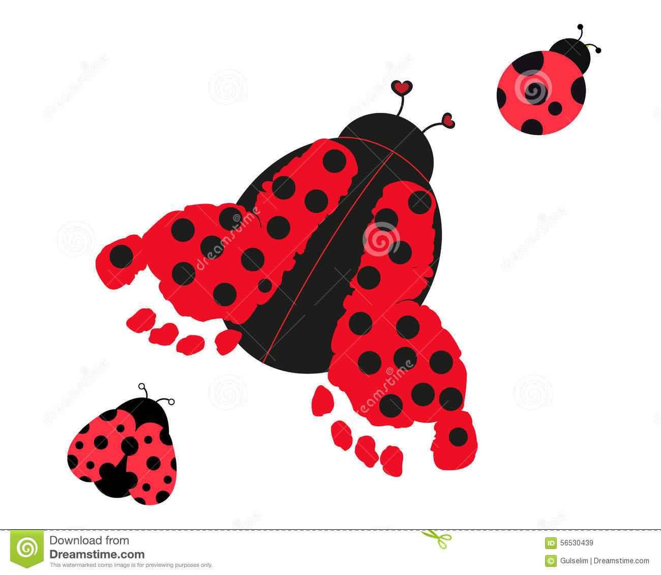 Ladybug with baby foot prints vector stock vector illustration of download comp stopboris Image collections