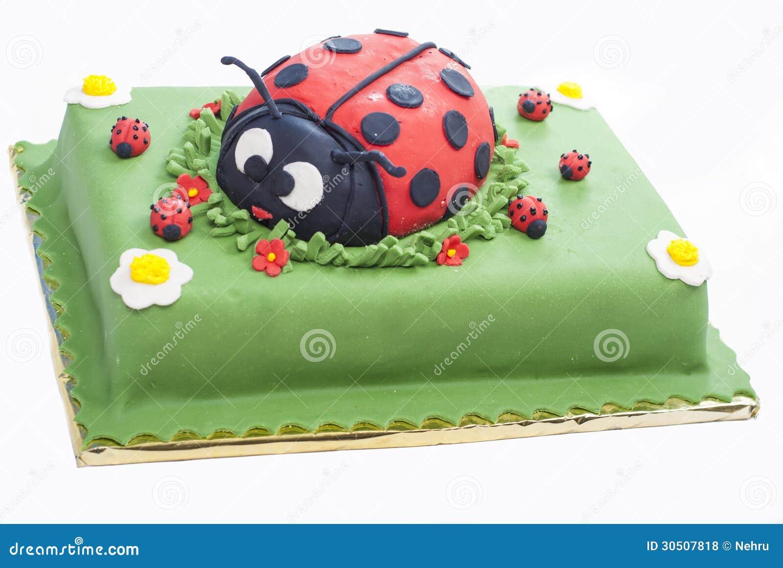 Stupendous Ladybug Birthday Cake Cake Stock Photo Image Of Small 30507818 Personalised Birthday Cards Veneteletsinfo