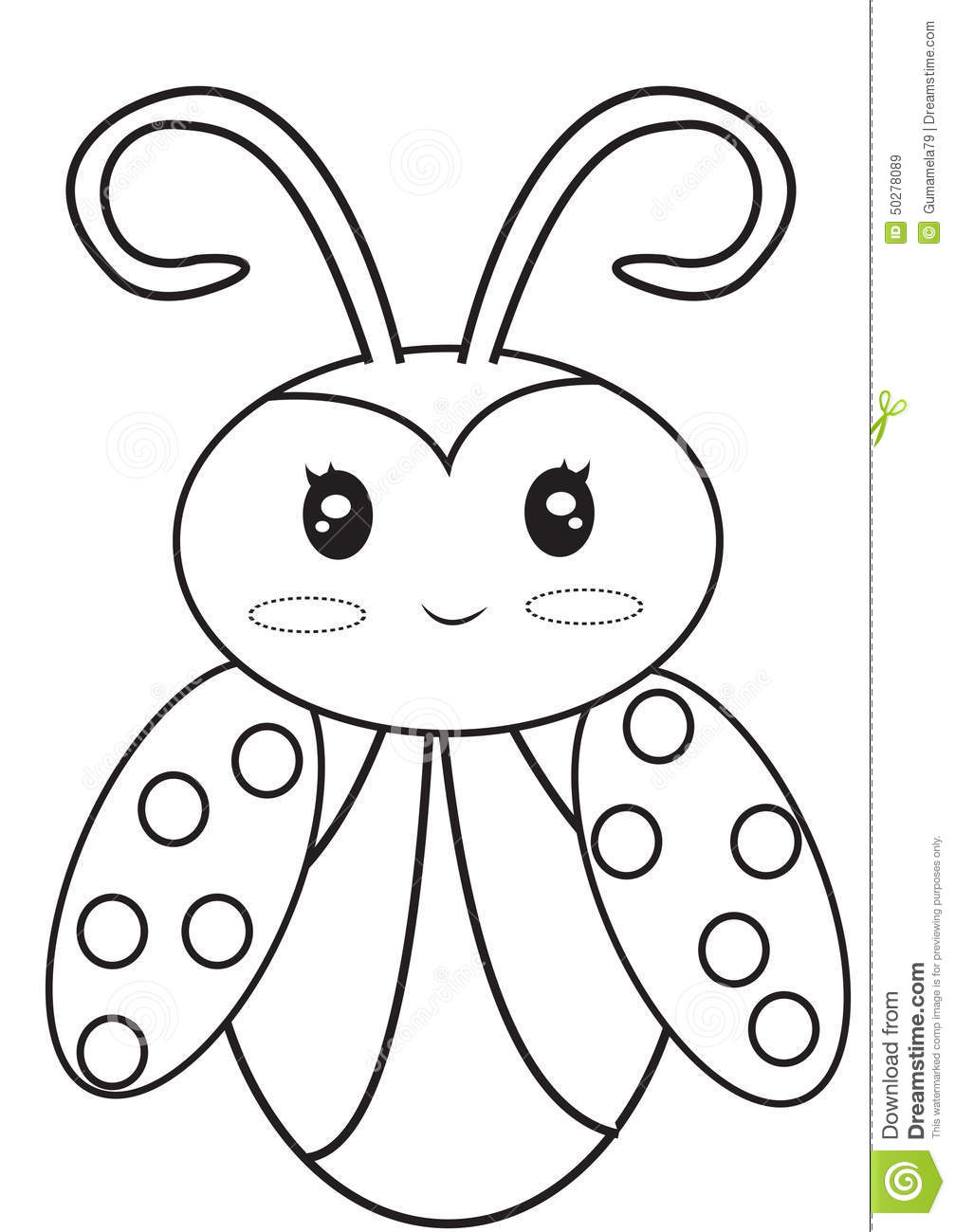 Ladybug coloring page stock illustration illustration of for Coloring pages of ladybugs