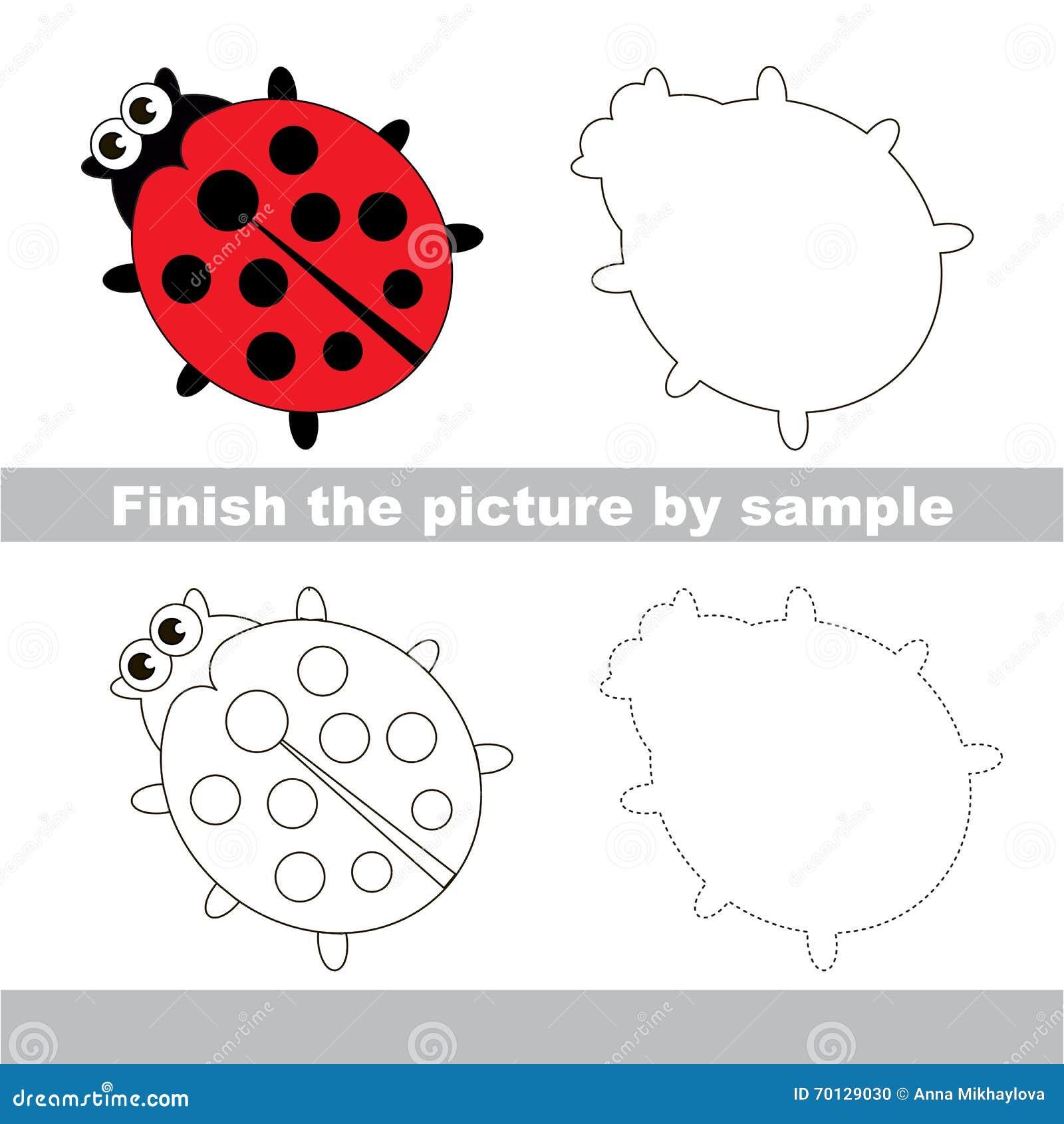 worksheet Ladybug Counting Worksheet ladybug drawing worksheet stock vector illustration of draw worksheet