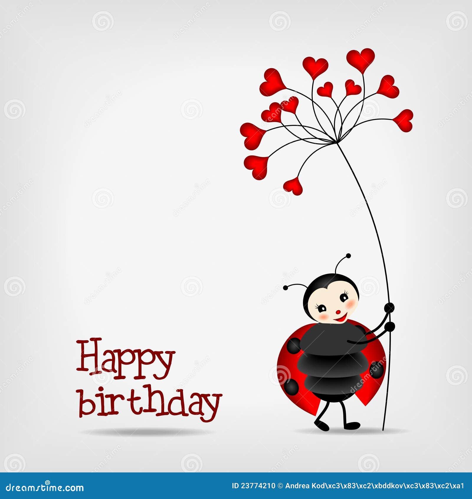 Ladybug With Flower - Birthday Card Stock Photo - Image ...