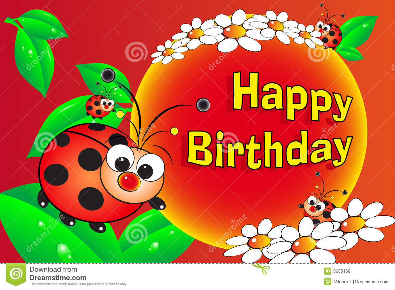 Ladybug And Flowers Birthday Card Royalty Free Image – Ladybug Birthday Cards