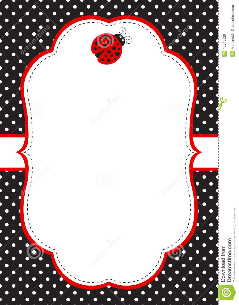 Polka dot invitation card template with ladybug.