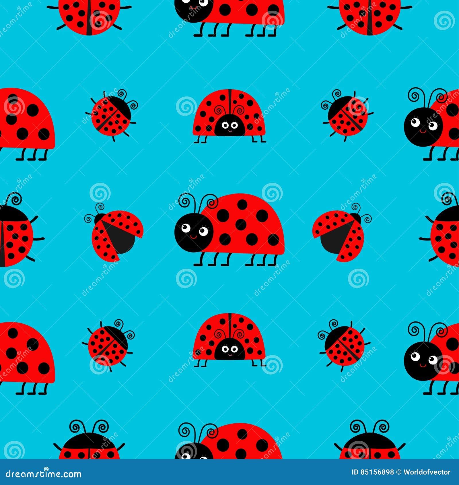 ladybug ladybird icon set baby collection funny insect seamless
