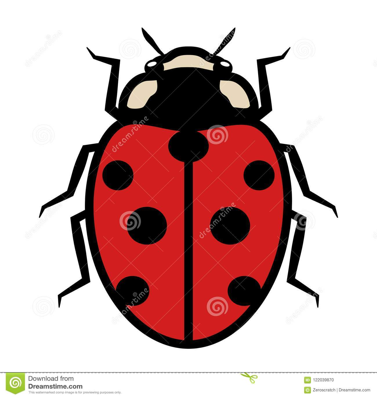 Ladybug Logo Symbol Icon Sign With Seven Black Spots Stock Vector