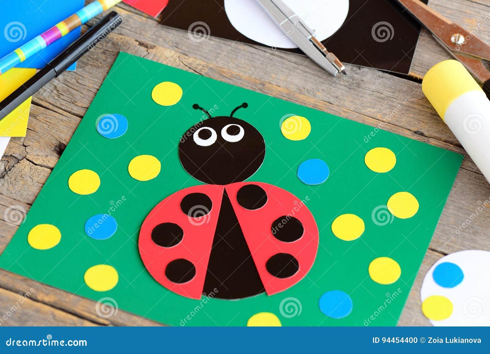 Ladybug Paper Collage Ladybug Card Stationery On A Vintage Wooden