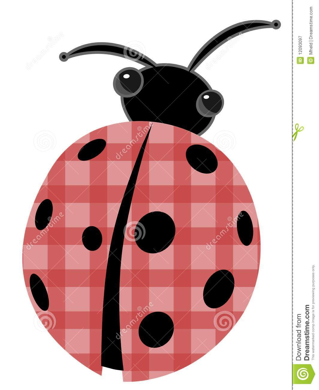ladybug with patchwork red shell vector cartoon royalty free stock