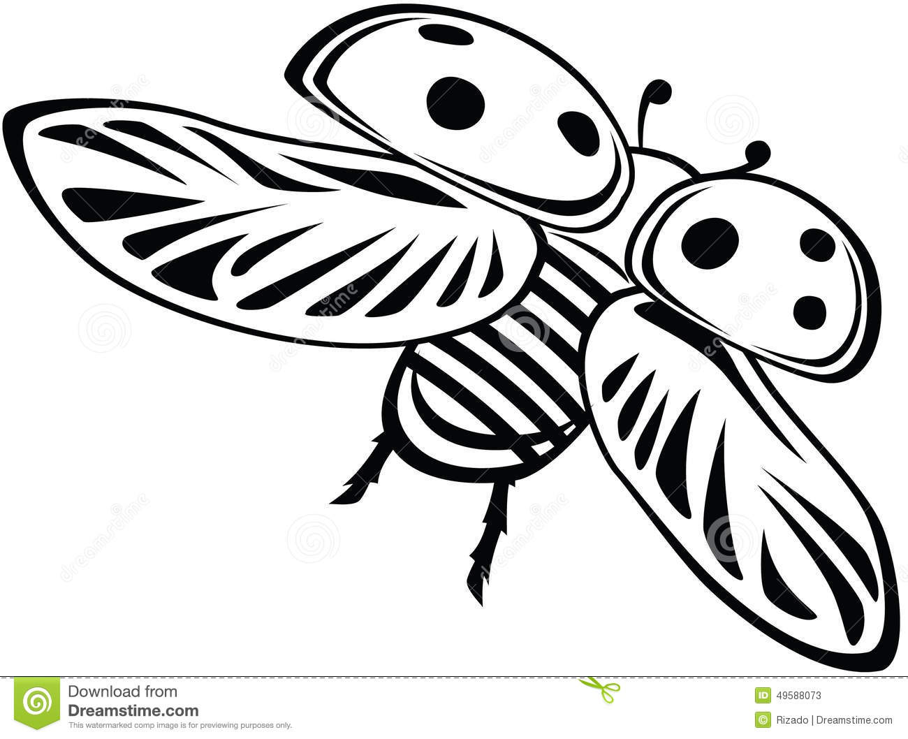 Clipart of a Black and White Ladybug  Royalty Free Vector