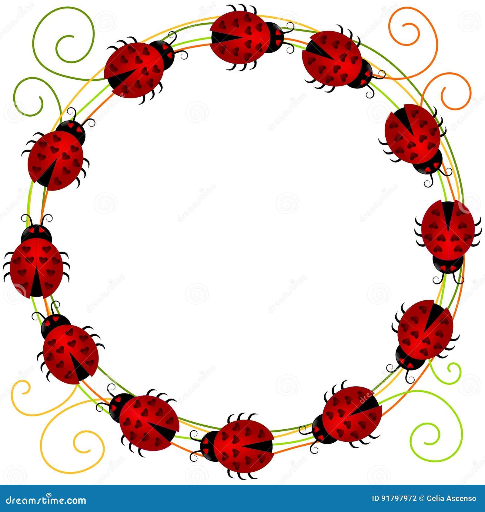 Ladybugs border frame stock illustration. Illustration of clipart ...