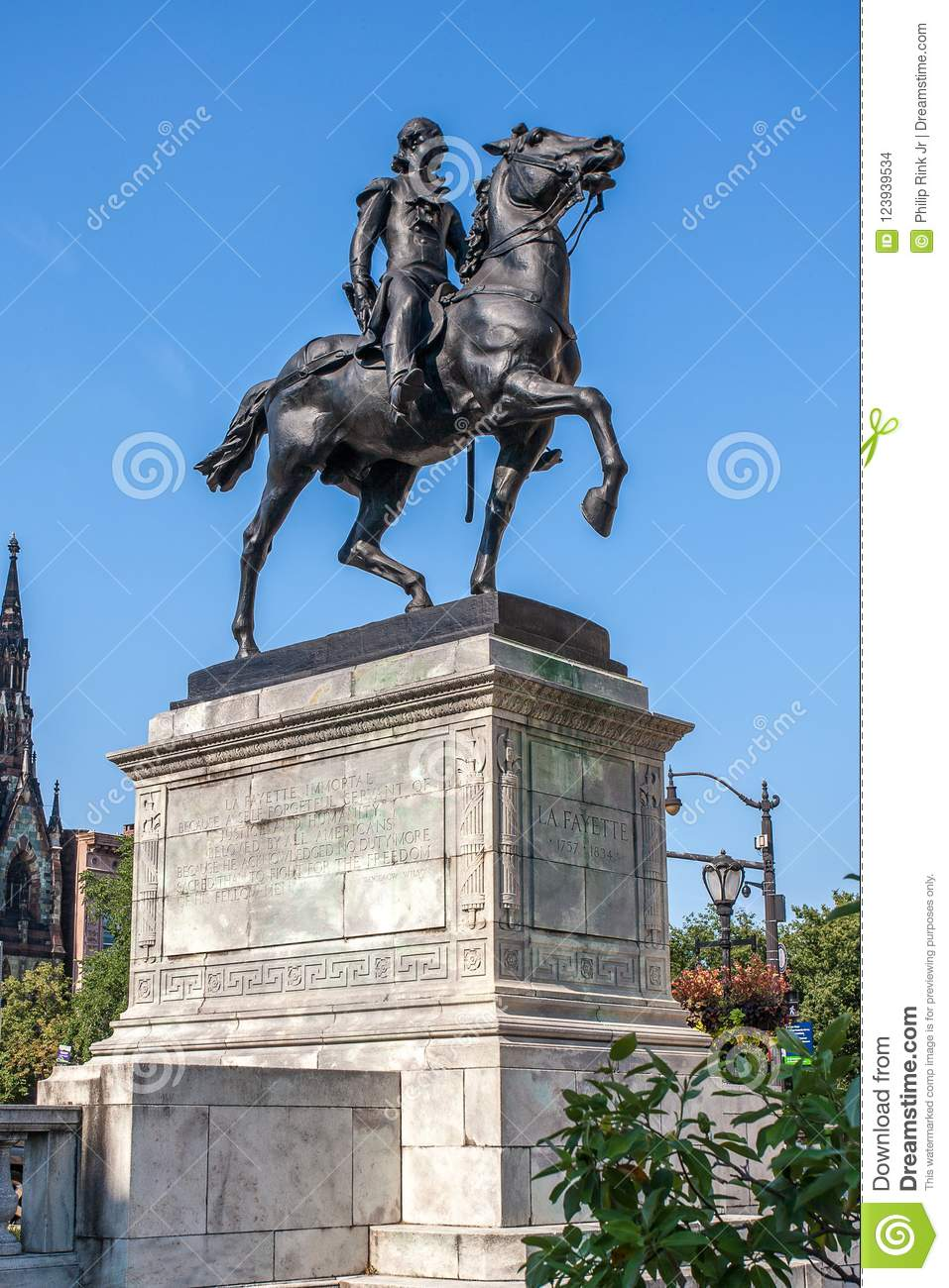 Lafayette Monument statue in Baltimore Maryland