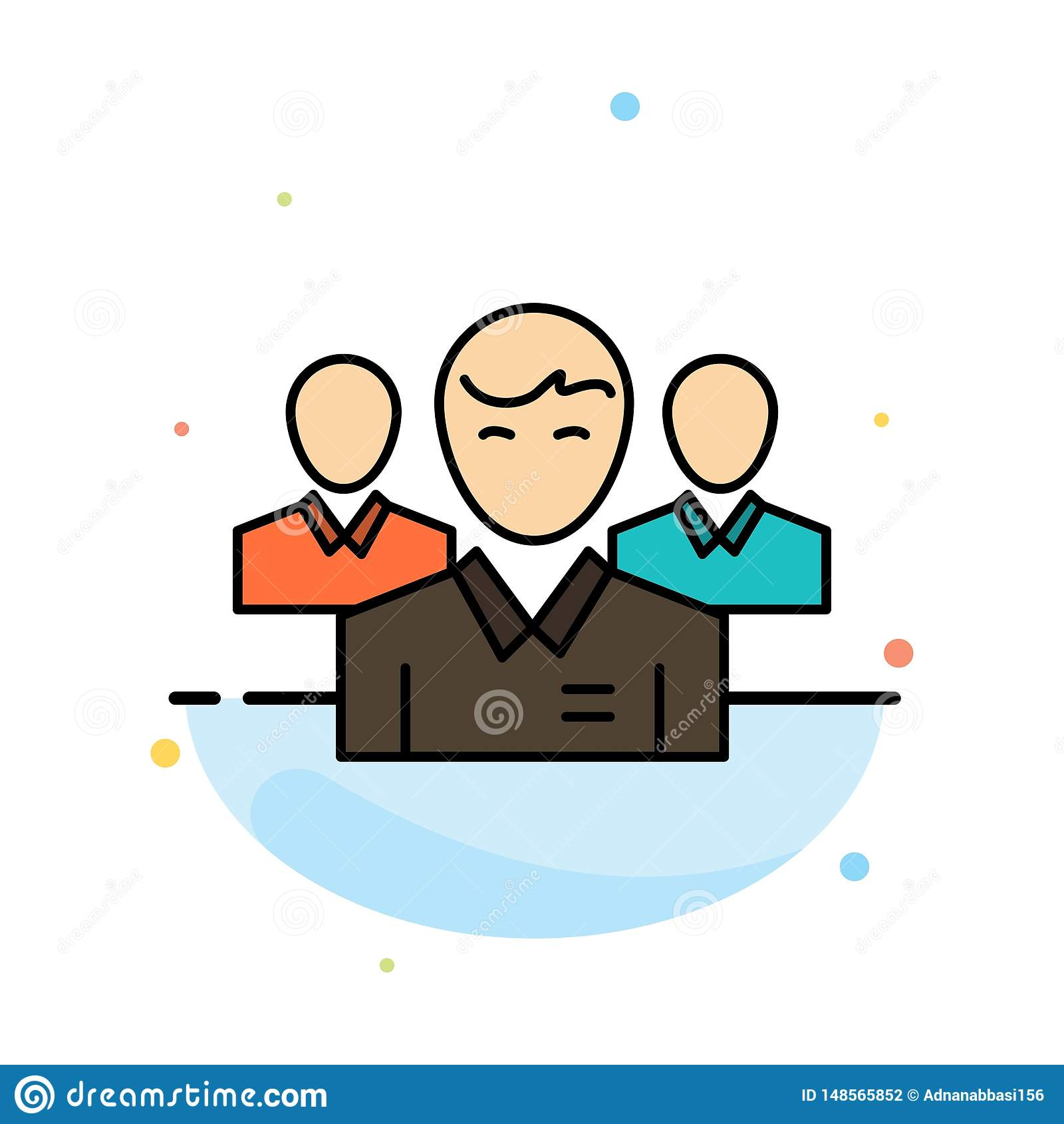 Lag affär, Ceo, ledare, ledare, ledarskap, för färgsymbol för person abstrakt plan mall
