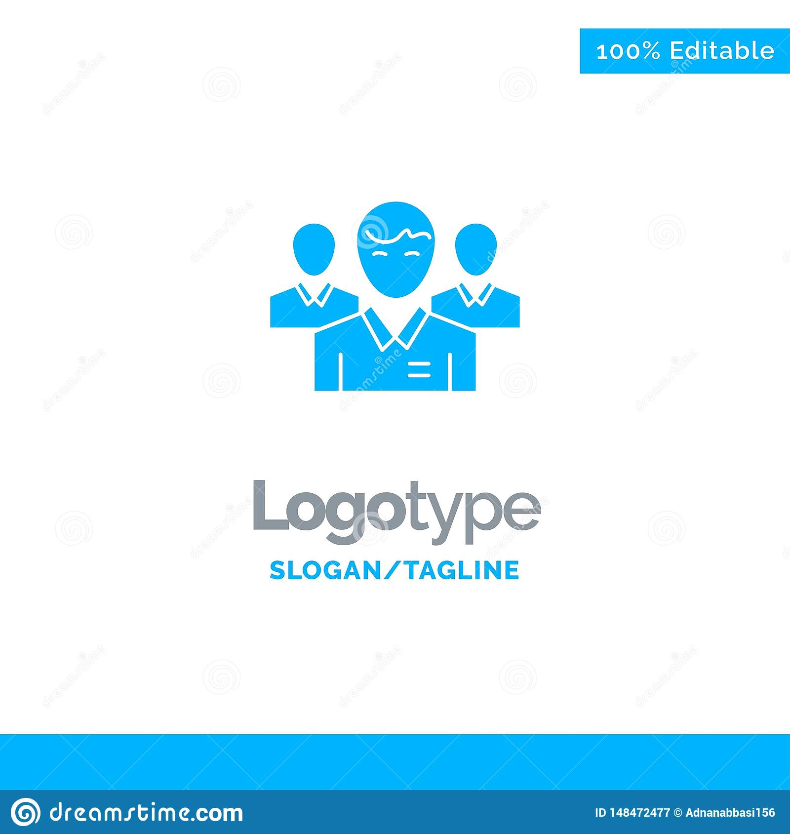 Lag affär, Ceo, ledare, ledare, ledarskap, person blåa fasta Logo Template St?lle f?r Tagline