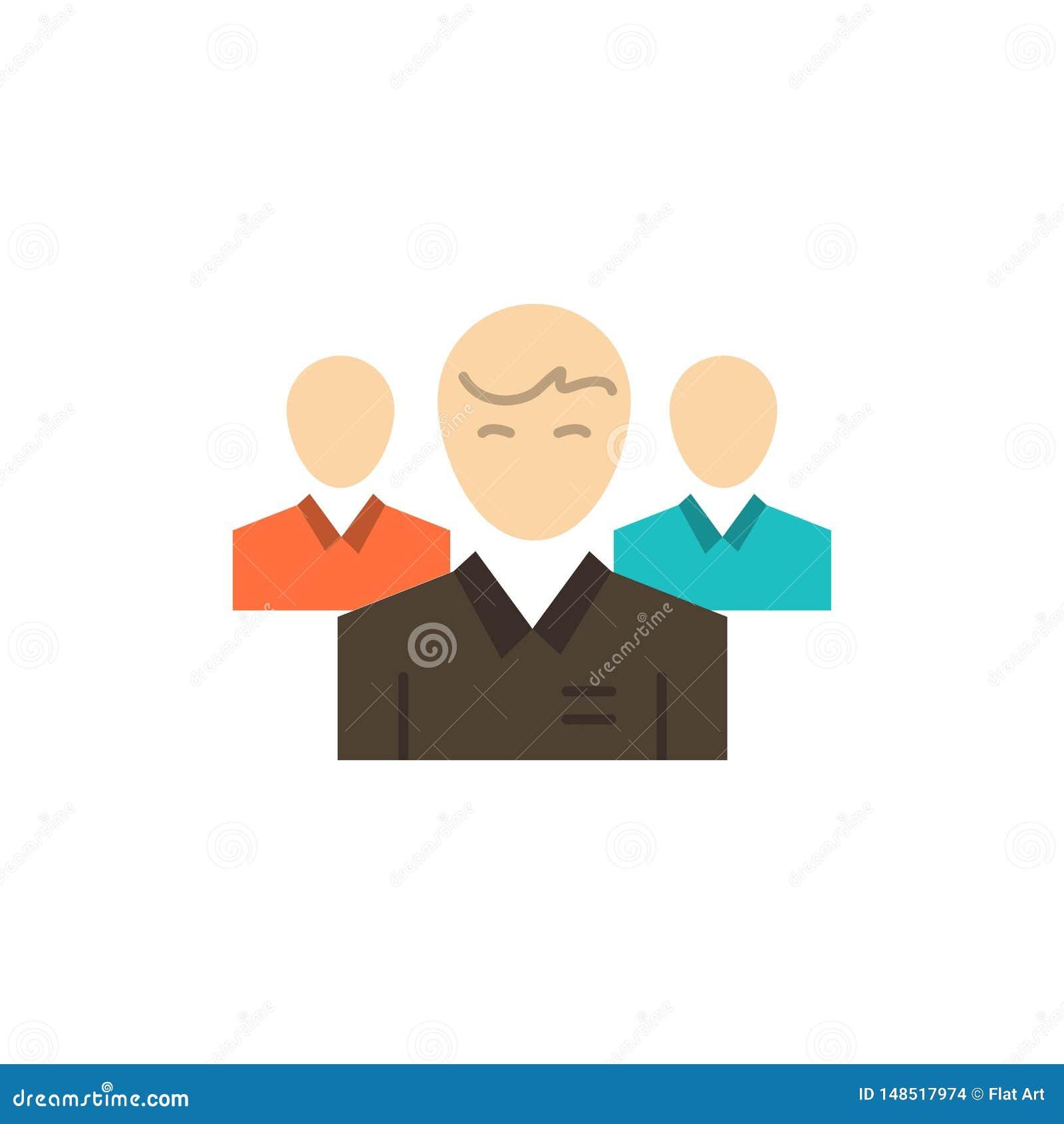 Lag affär, Ceo, ledare, ledare, ledarskap, plan färgsymbol för person Mall för vektorsymbolsbaner