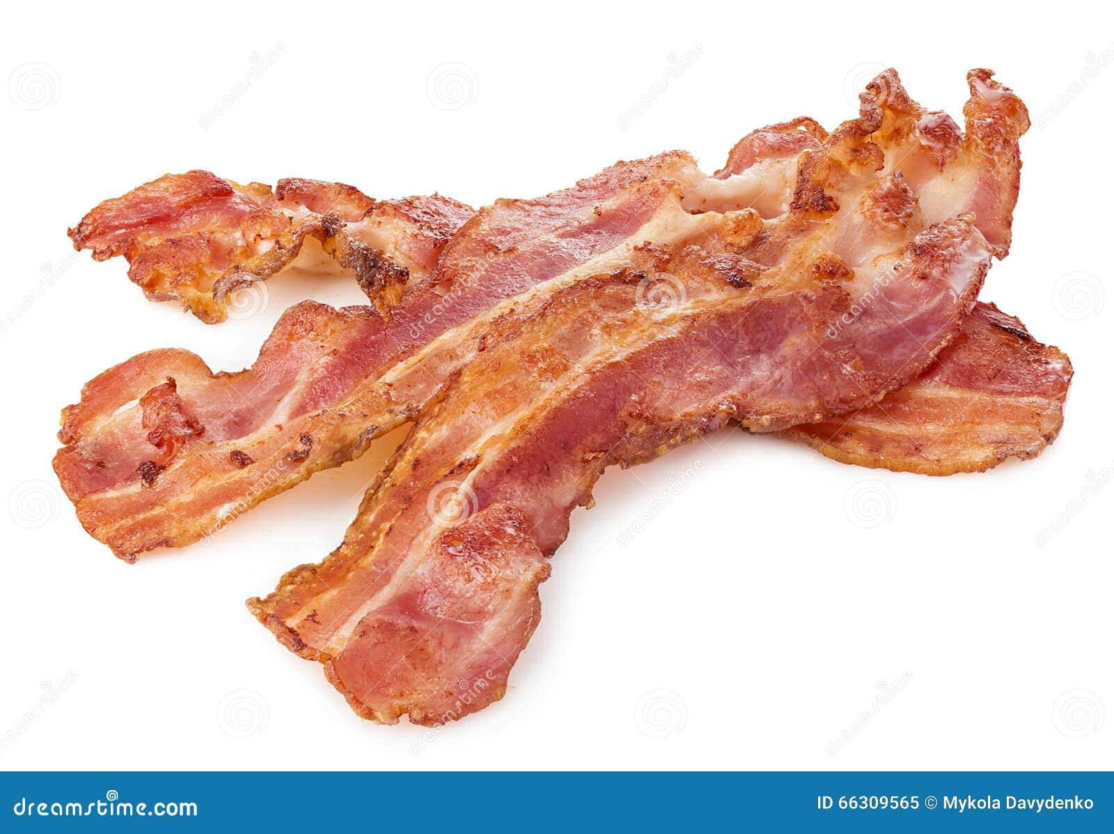 Lagad mat baconskinkskivanärbild som isoleras på en vit bakgrund
