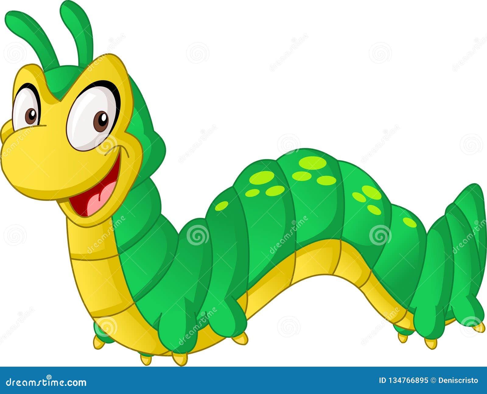 Lagarta bonito dos desenhos animados Ilustração do vetor do animal feliz engraçado