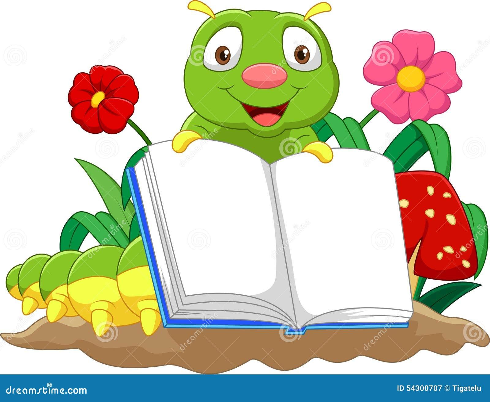 Lagarta bonito dos desenhos animados que guarda o livro