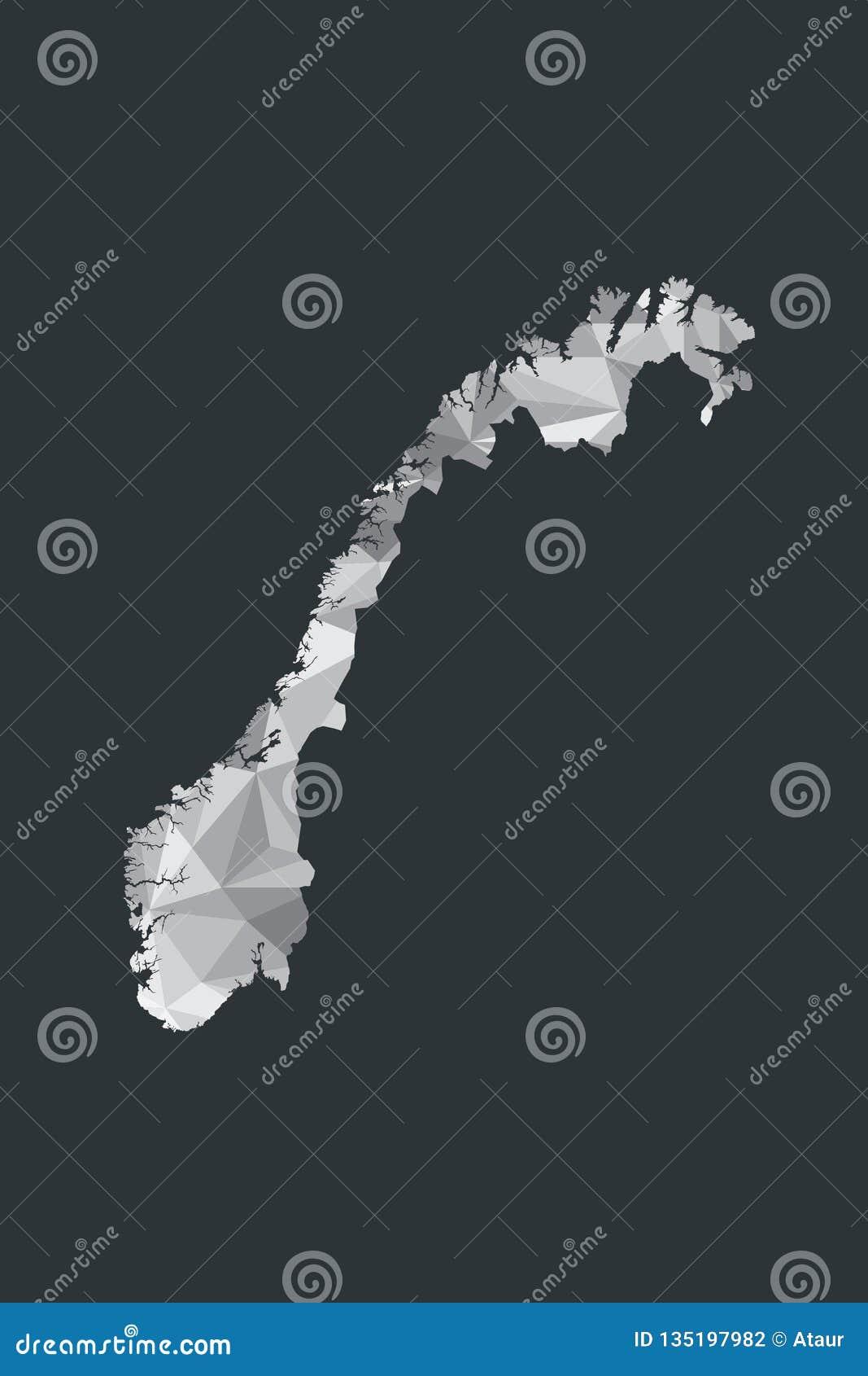 Lage poly de kaartvector van Noorwegen van witte kleuren geometrische vormen of driehoeken op zwarte achtergrond