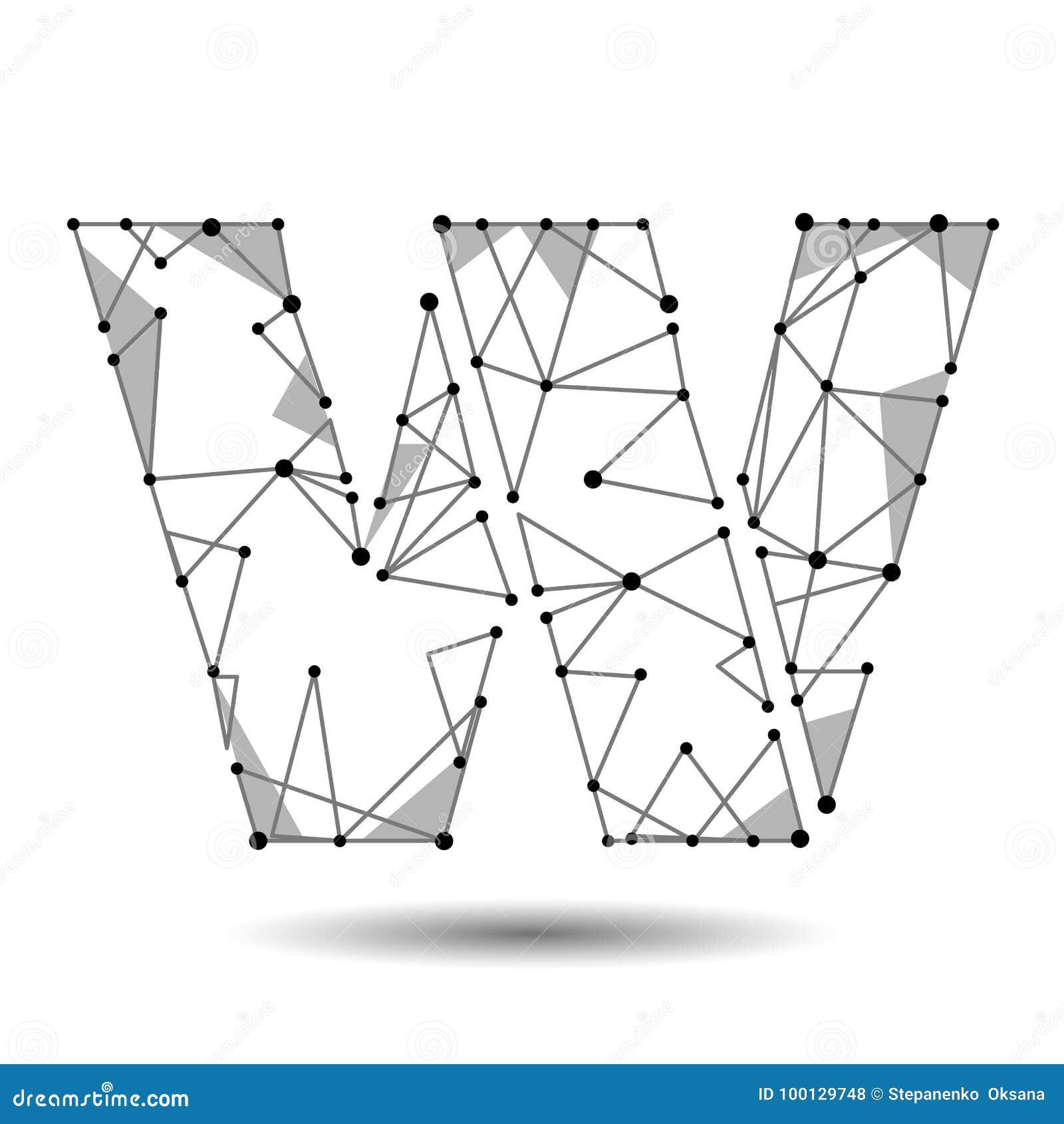 Lage polybrievenw Engelse Latijn De veelhoekige driehoek verbindt de lijn van het puntpunt Het zwarte witte 3d type van structuur