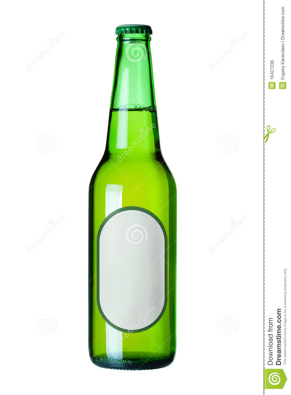 Lager beer in green bottle with blank label royalty free stock image