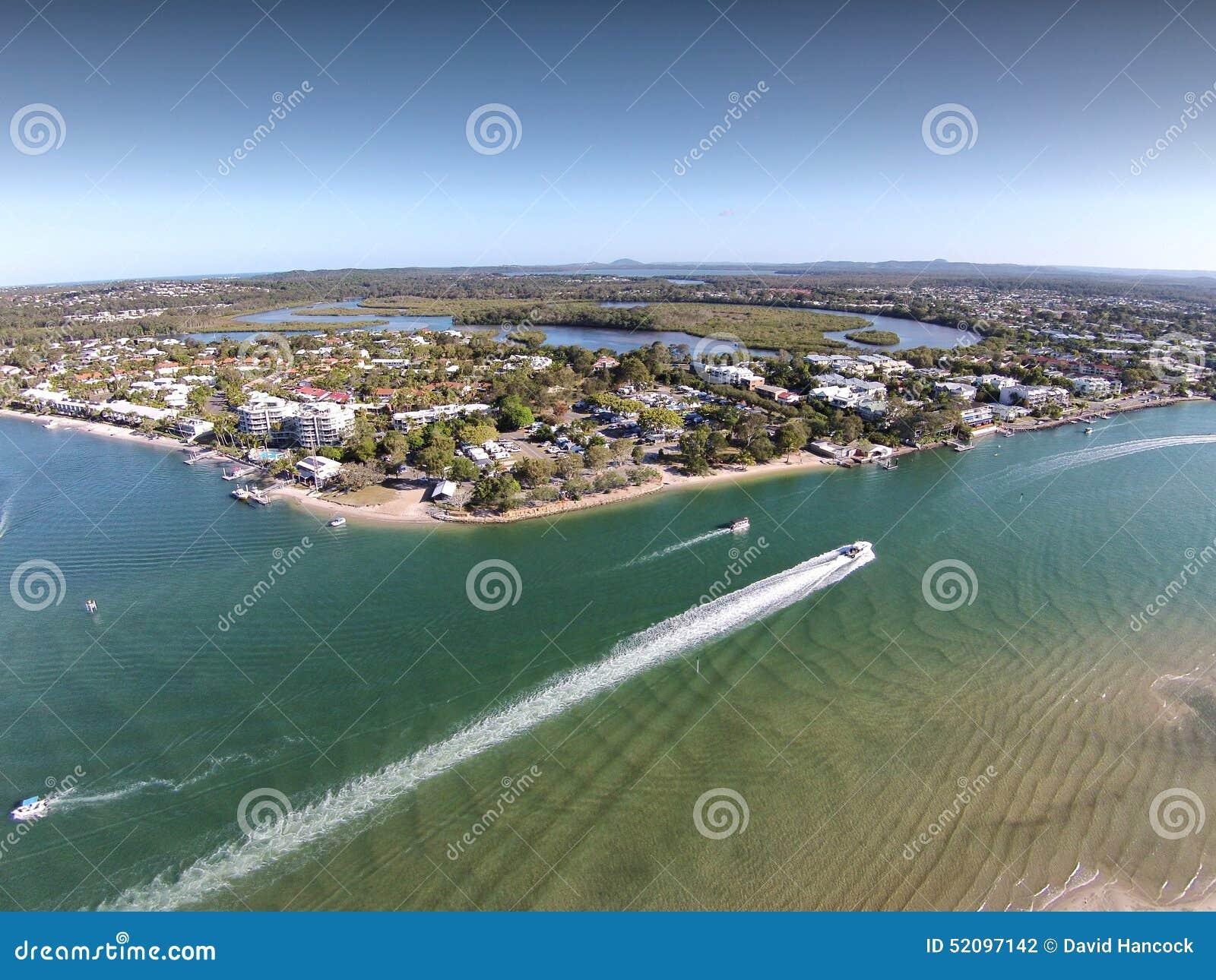 Lagerföra den flyg- bildbilden av Noosa huvud Queensland