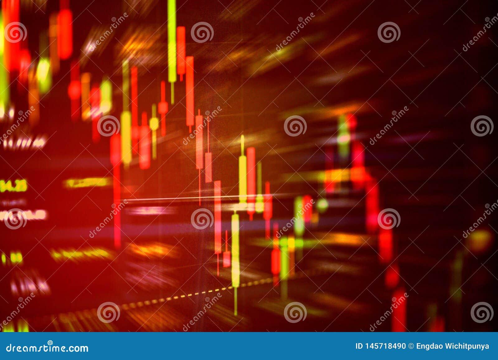 Lagerföra röd prisfall för krisen ner diagramnedgång