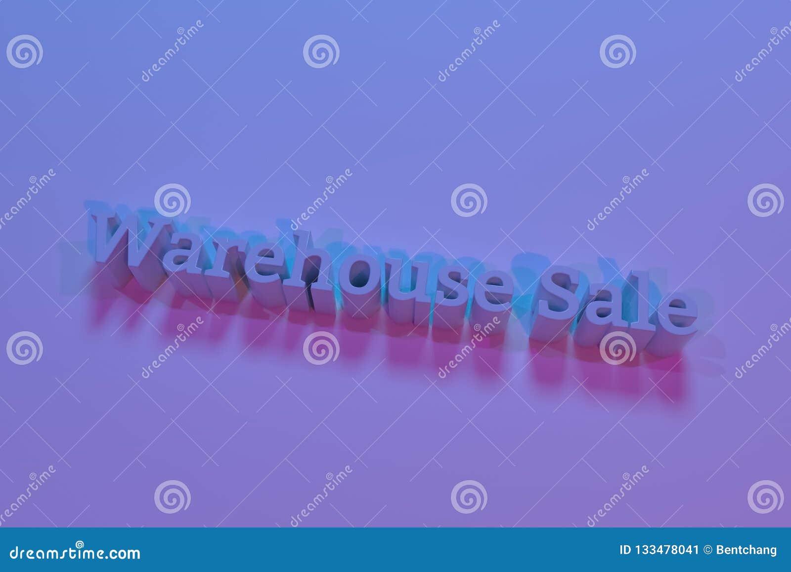 Lagerförsäljning, tolkning 3D Cgi-nyckelord För grafisk design eller bakgrund typografi