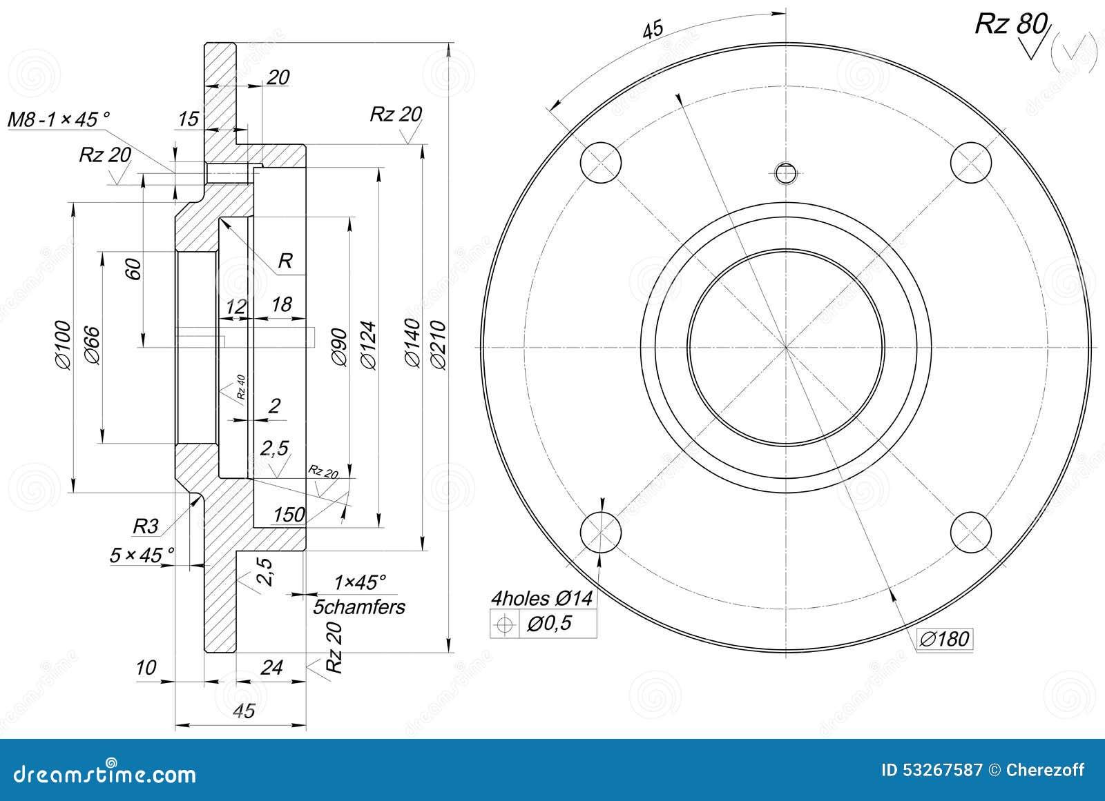 Lagerskizze Mit Abschrägungen Technische Konstruktionszeichnung ...