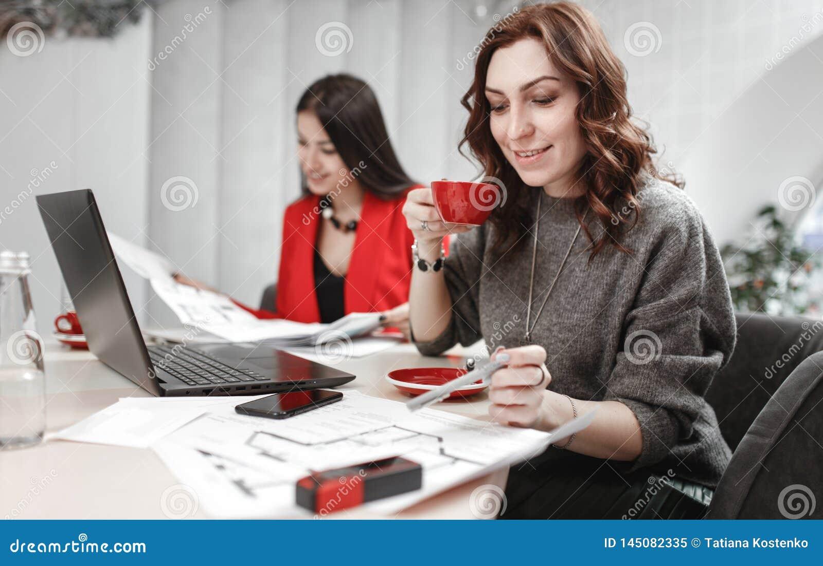 Laget av formgivaren f?r tv? unga kvinnor arbetar p? designprojektet av inre sammantr?de p? skrivbordet med b?rbara datorn och