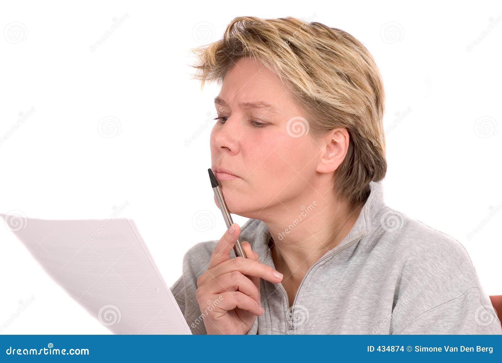 Laglig avläsningskvinna för förlaga