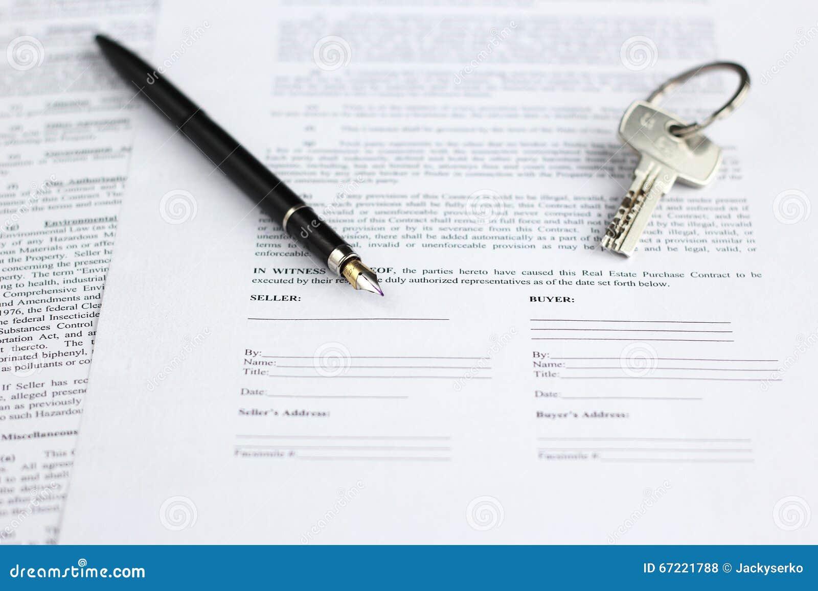 Lagligt dokument som är till salu av fastighet, med reservoarpenna- och hustangenter