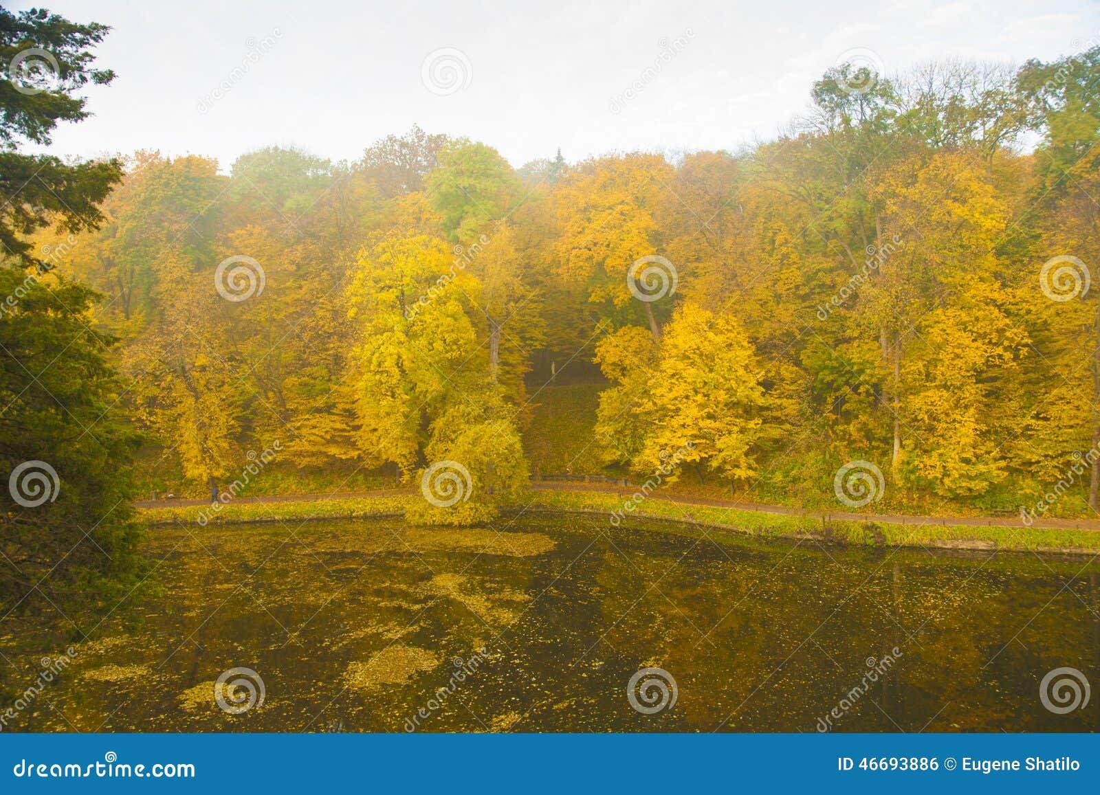 Lago antiguo del parque en otoño