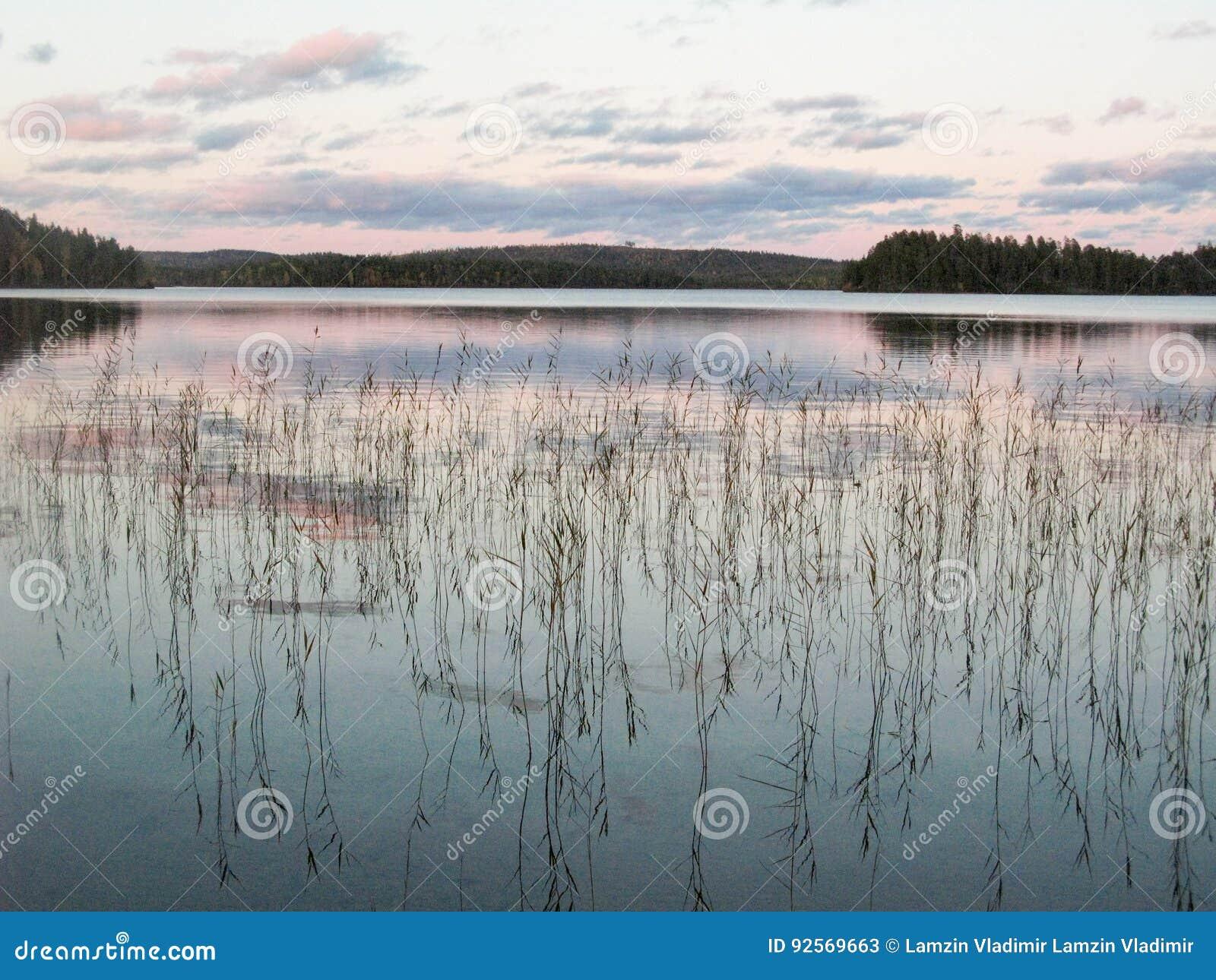 Lago in autunno della Carelia, settembre
