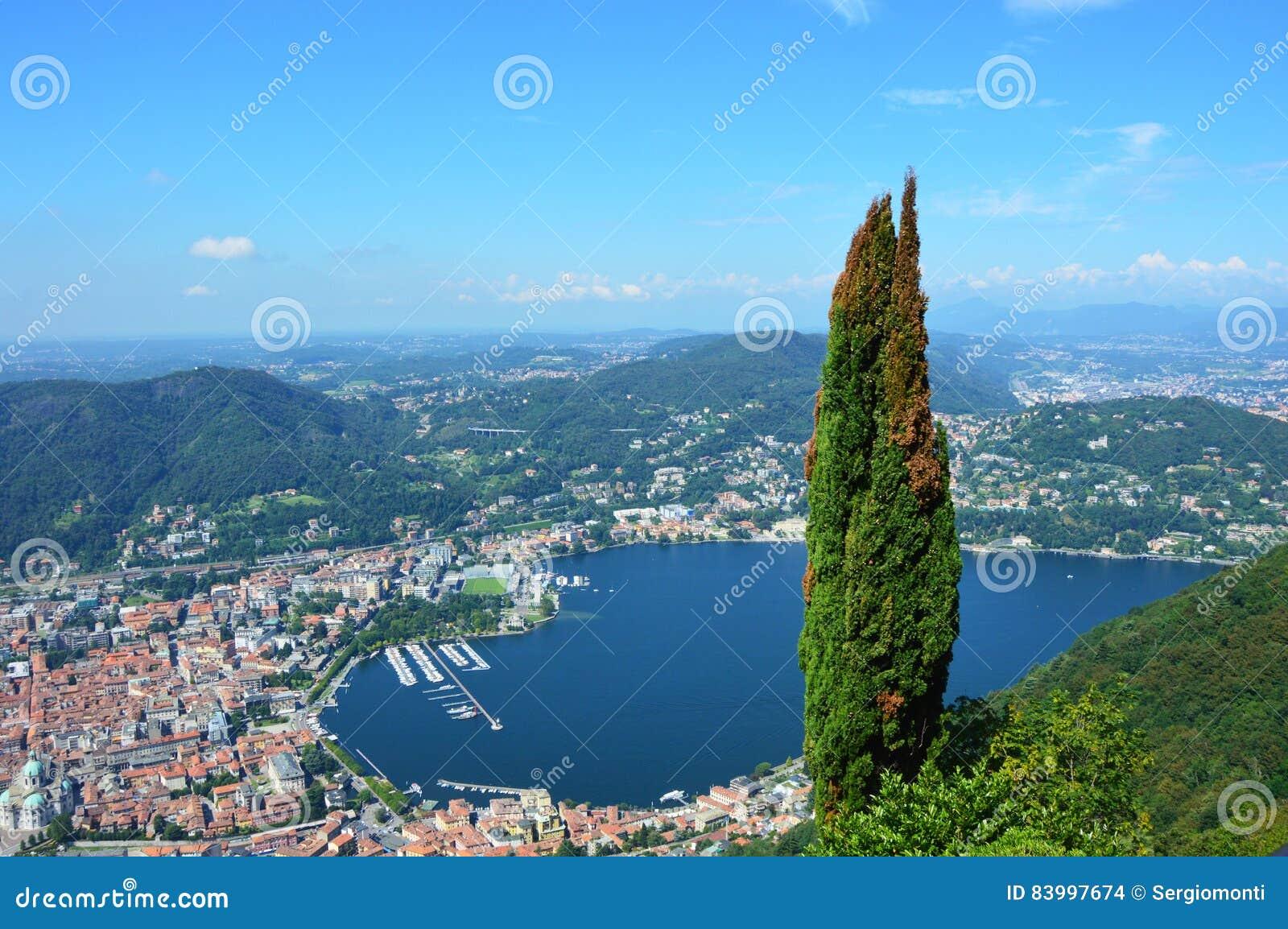 Lago Como de la visión de Brunate