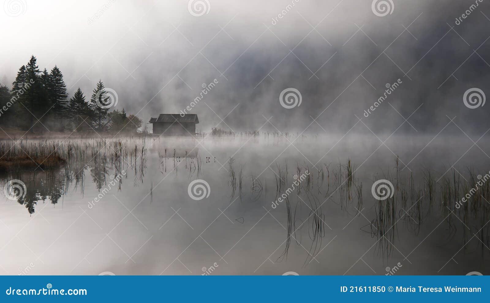Lago con otoño-niebla