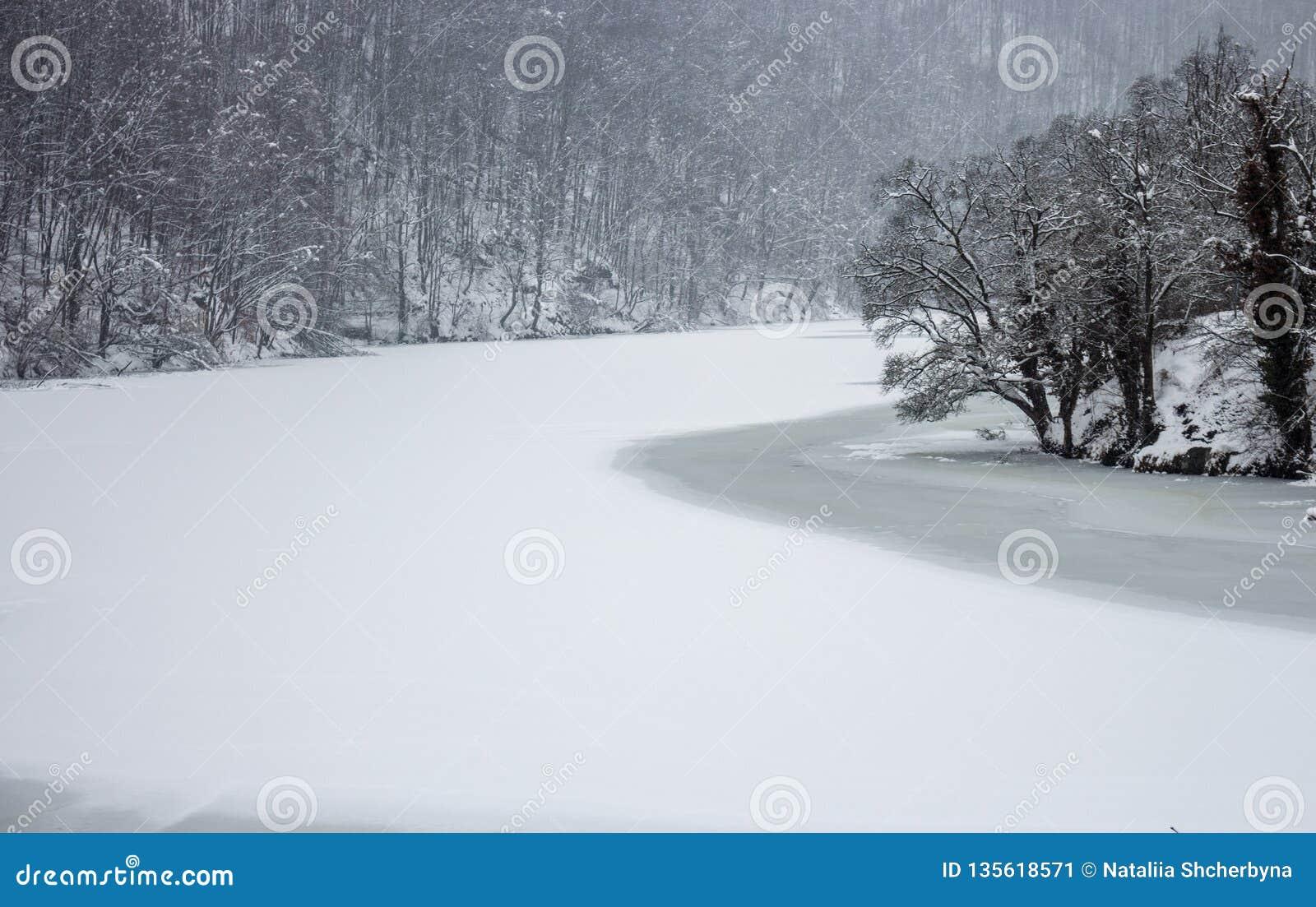 hermosas fotos de invierno naturaleza Lago Congelado Del Invierno Con El Bosque Fro En Lillafured