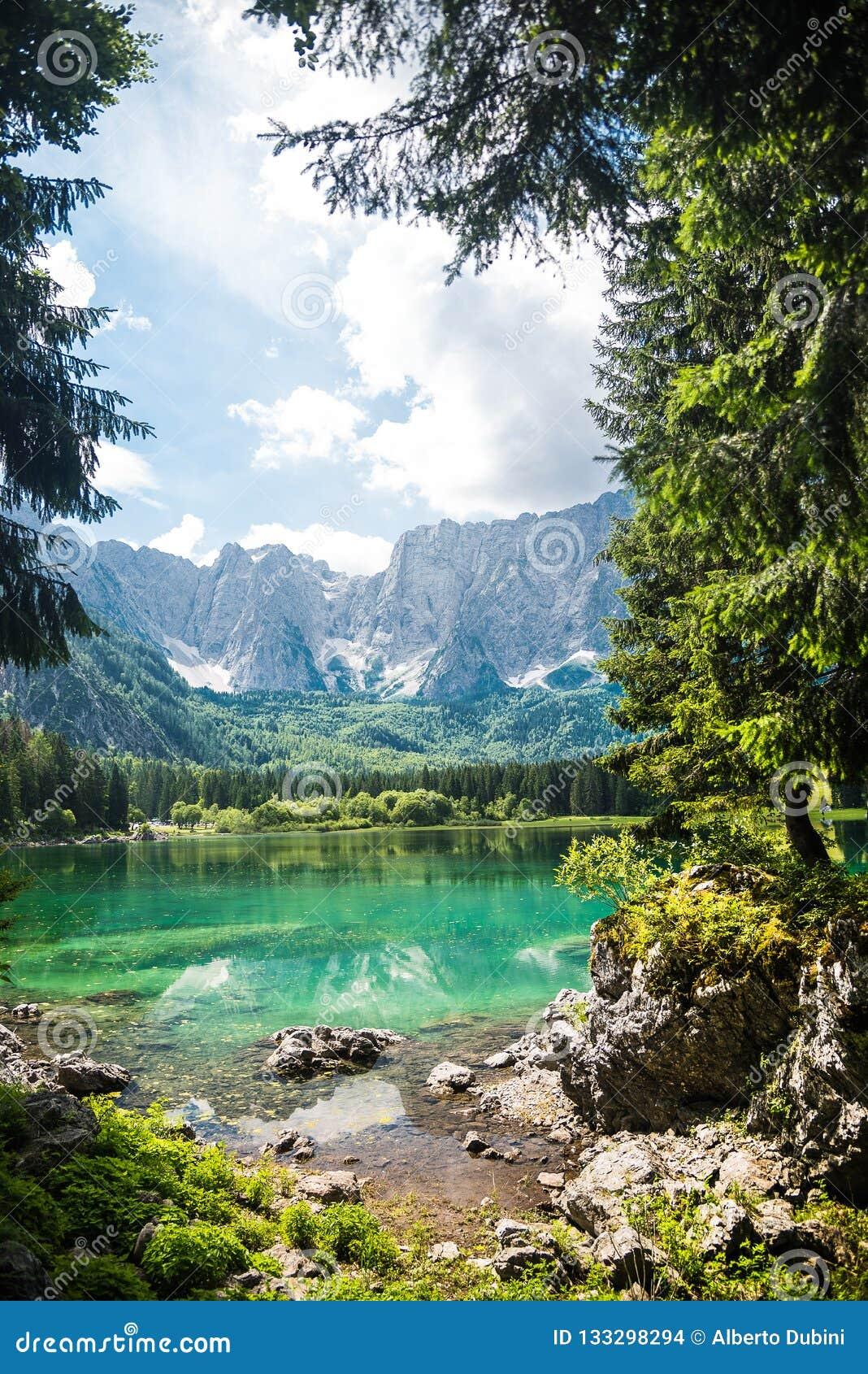 Lago da montanha do verão