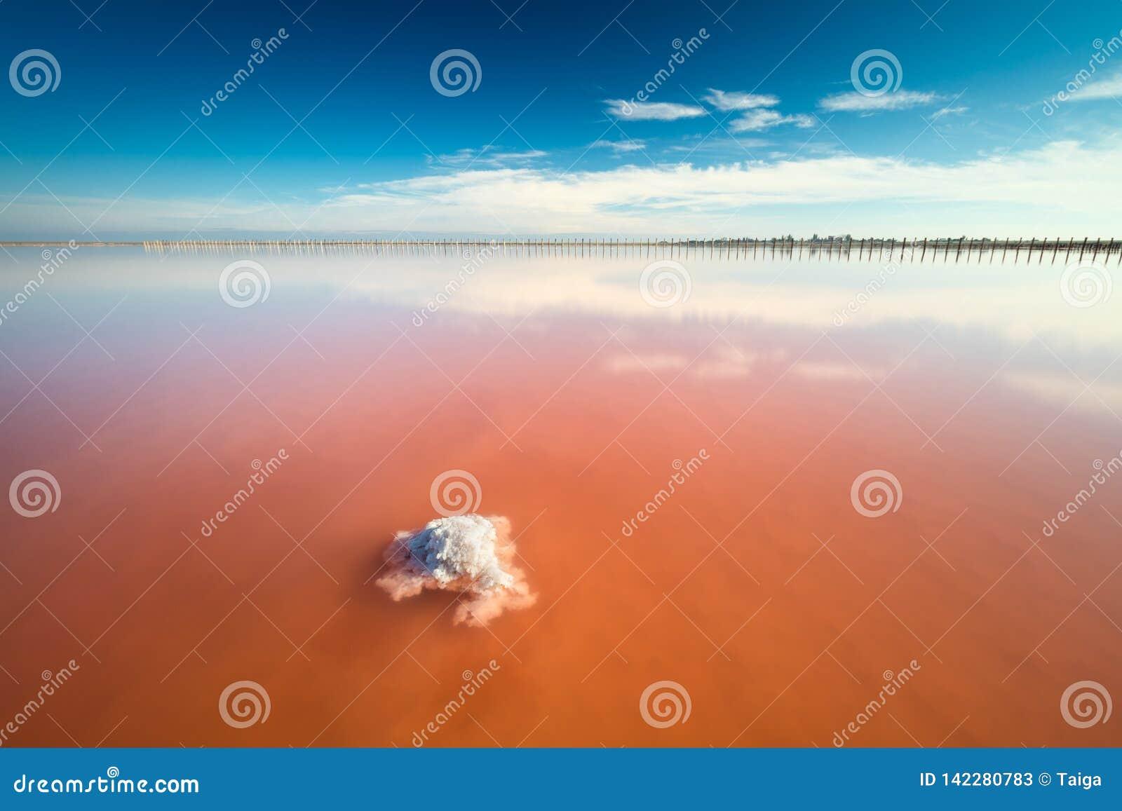Lago de sal cor-de-rosa surpreendente real da cor e céu azul profundo, paisagem minimalistic