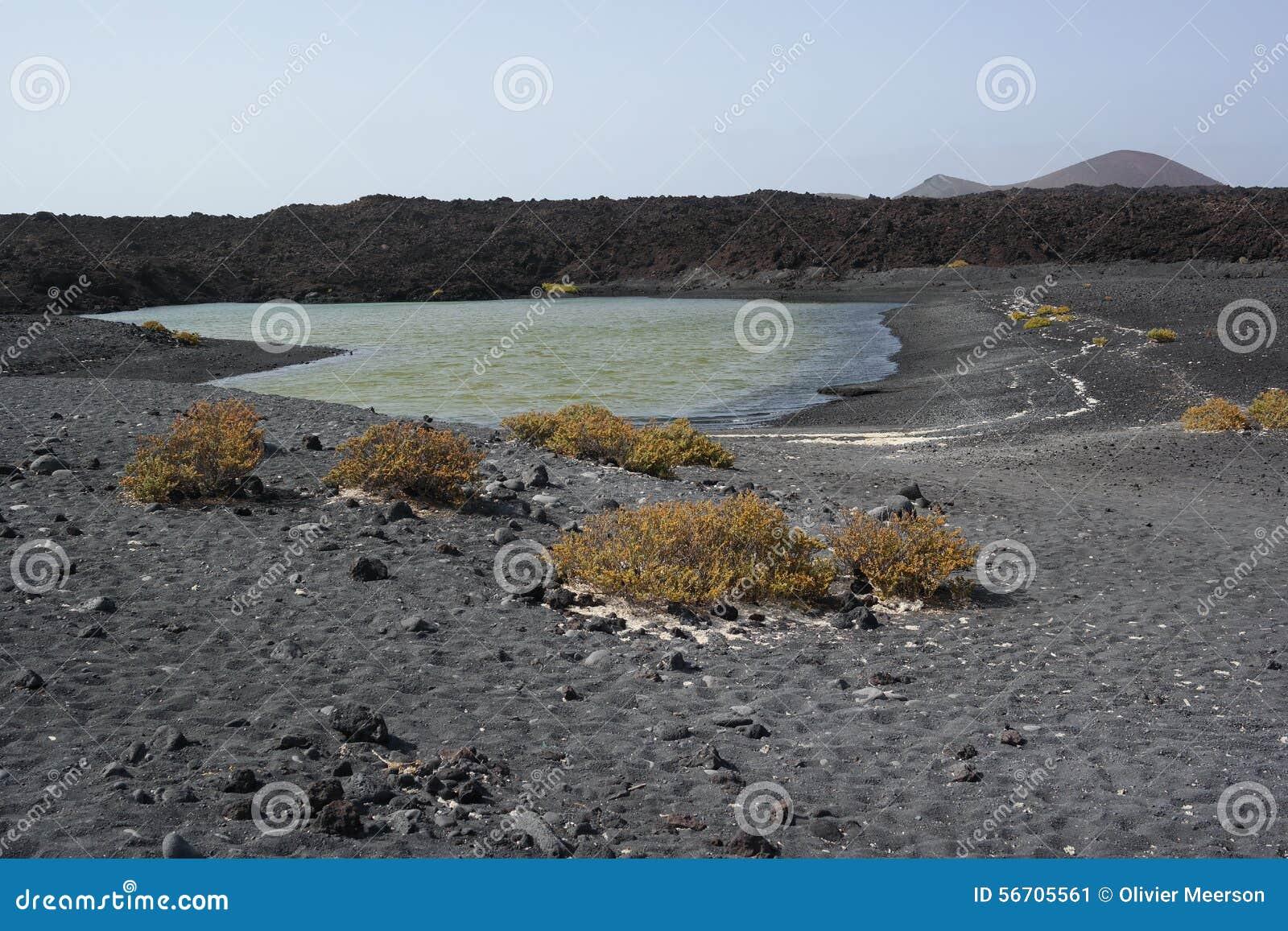 Lago del golfo del EL, Lanzarote, islas de Canaria