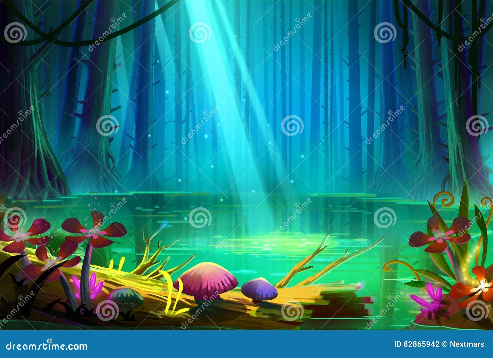 Lago dentro da floresta profunda