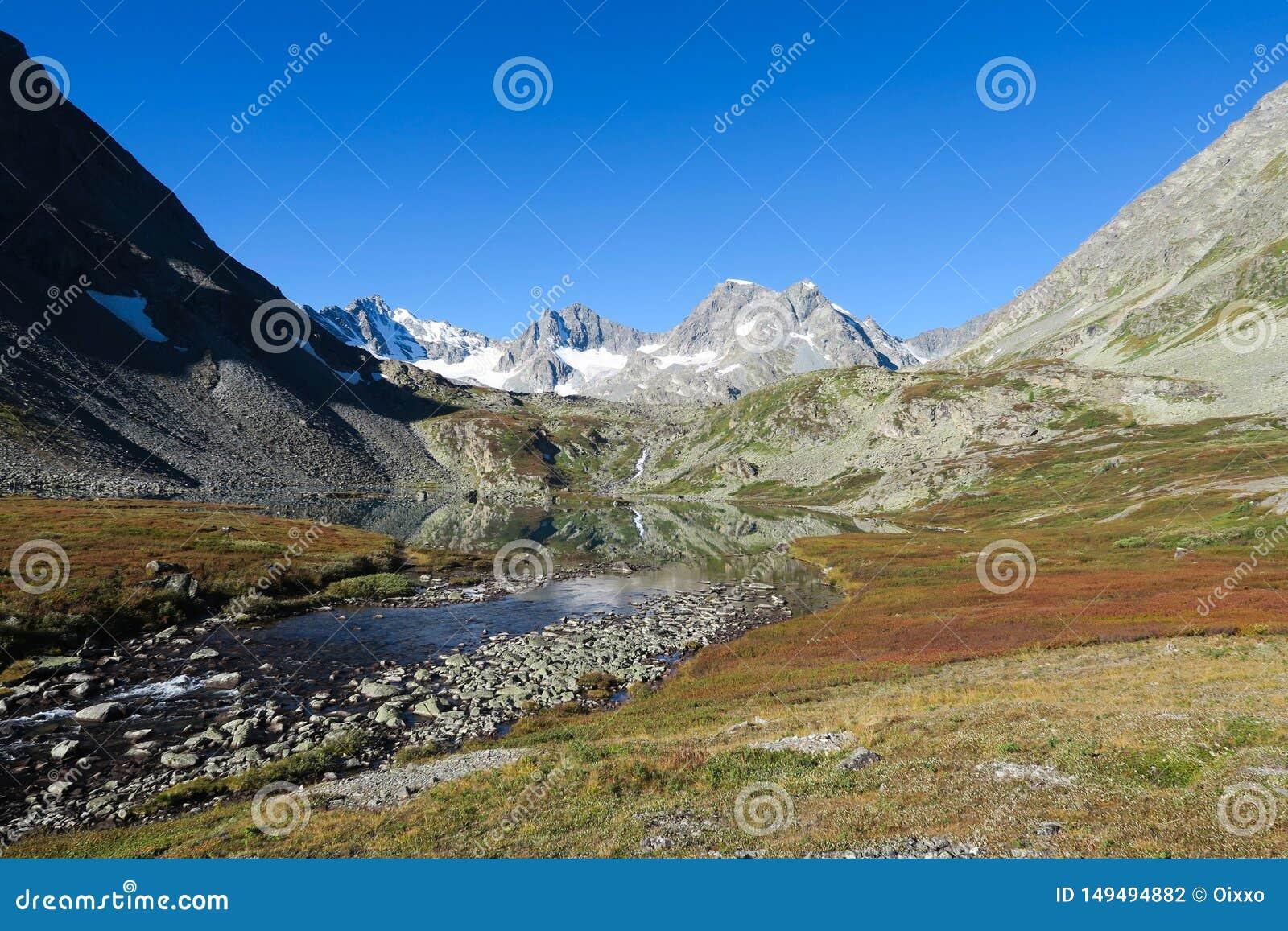 Lago do espelho da montanha na opinião cênico das cores do outono Queda nas montanhas de Altai, R?ssia