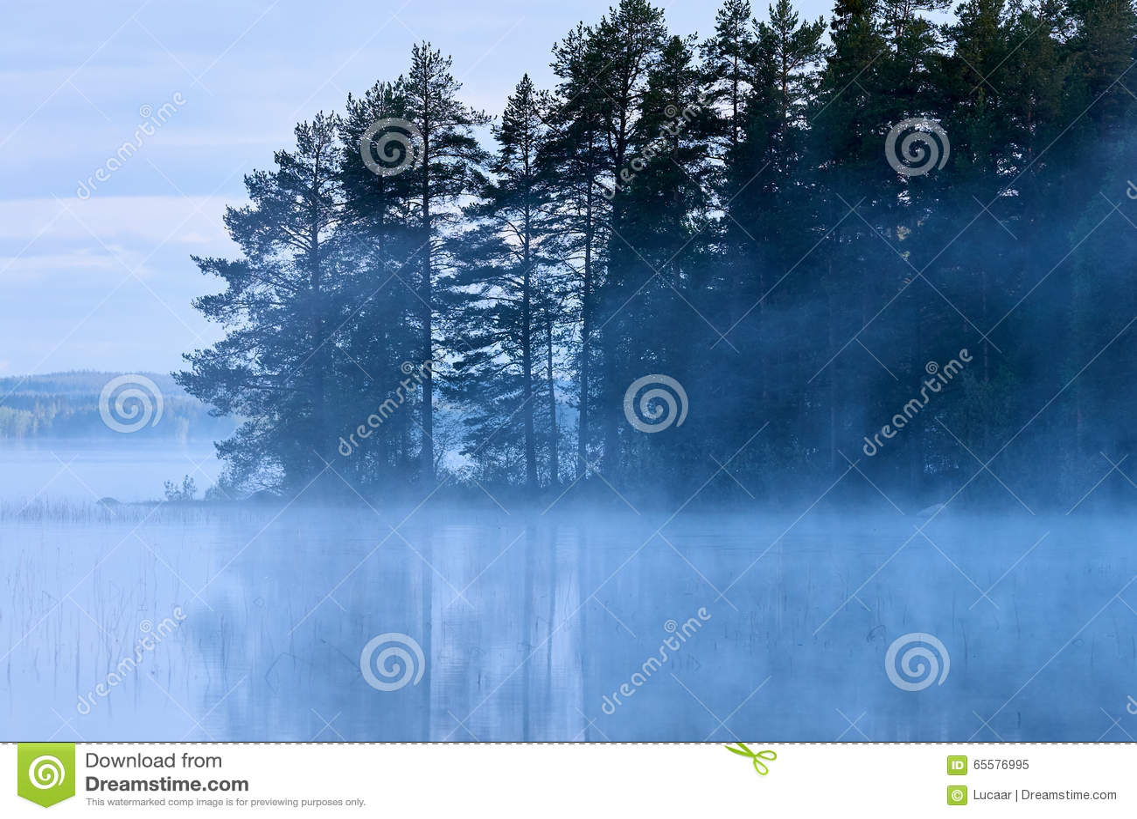 Lago finlandês com névoa