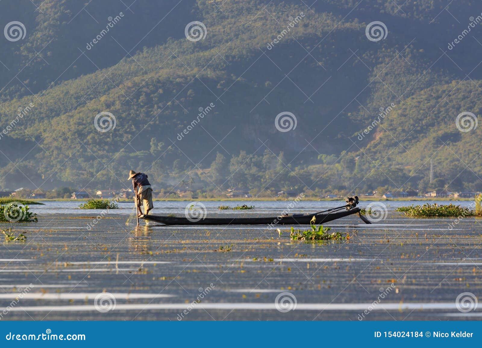 Lago Inle, Myanmar, o 20 de novembro de 2018 - pescadores autênticos que trabalham verificando suas redes nas águas do lago Inle